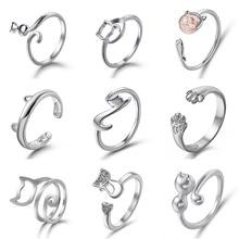 цена на New Simple Rings Cute Cat Open Finger Rings Cat Ear Paw Adjustable Kitten Design Ring Female Engagement Wedding Gift Jewelry