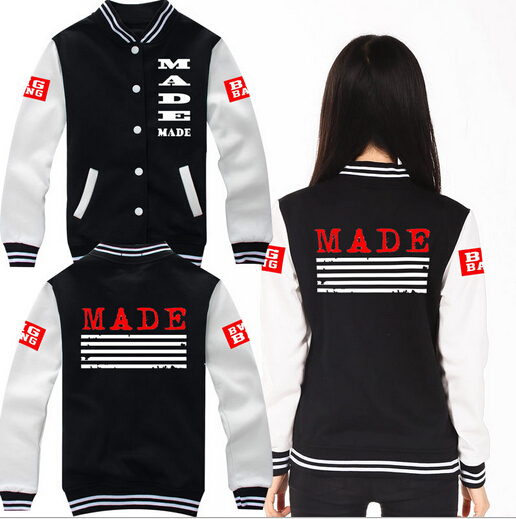KPOP bigbang G-dragon GD Korean Baseball hoodie Bigbang YG kpop clothes k-pop bigbang gd k pop style clothe