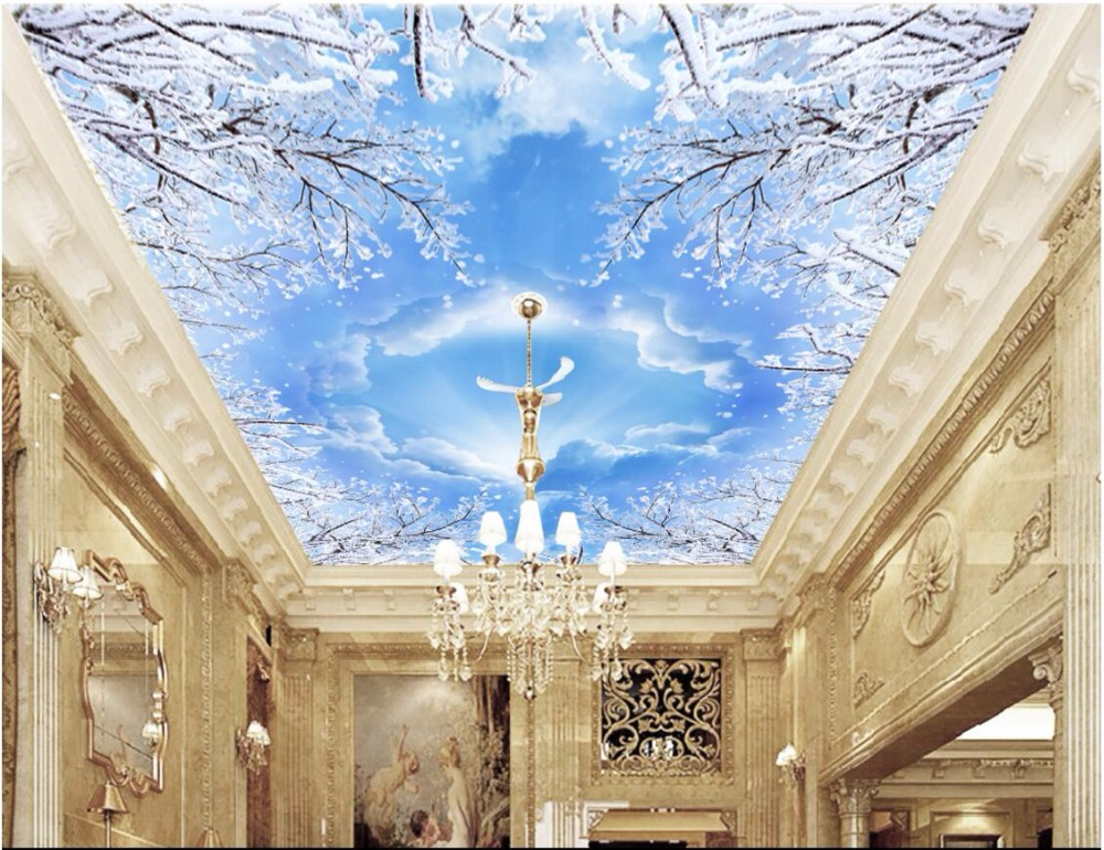 3d ceiling murals wallpaper custom photo non-woven The sky snow branch pigeons painting 3d wall murals wallpaper for living room custom 3d ceiling wallpaper beautiful sky maple murals for the living room bedroom ceiling wall waterproof wallpaper