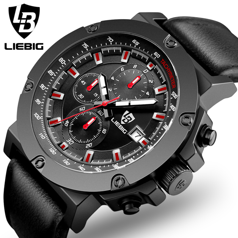 2017 Relogio Masculino LIEBIG Chronograph Function Mens Watches Genuine Leather Luxury Mens Brand Military Wristwatches reloj