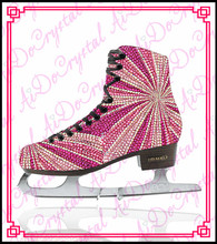 Aidocrystal 2015 popular crystal covered figure ice skating shoes for ladies