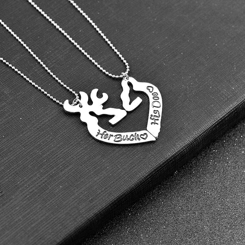 2 Deer Hunting Her Buck his Doe Necklace Guitar Matching Simple Hollow Shape Pendant Girl Deer Deer Silver Valentines Day Gift