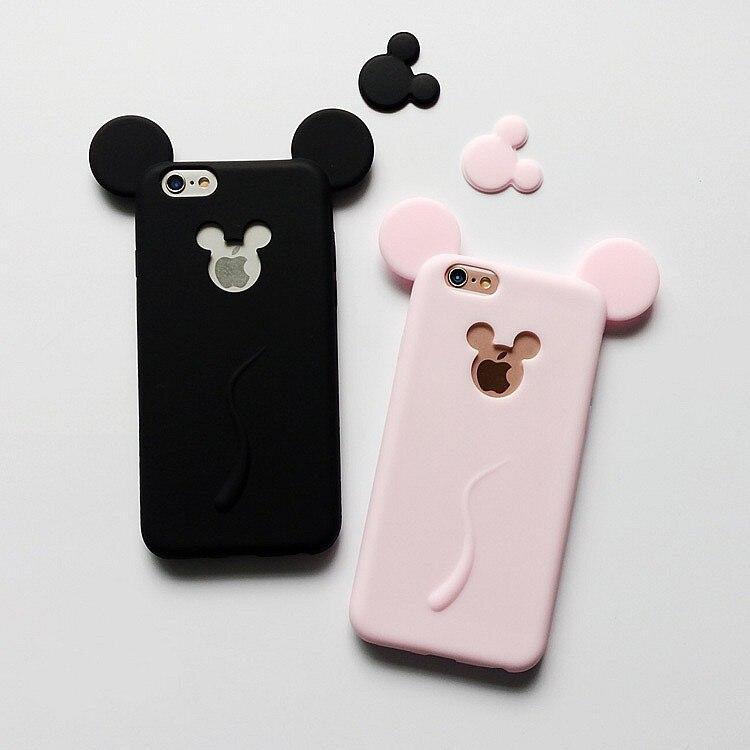 5S mickey minne cas mignon ultra mince en silicone souple de bande dessinée logo coque pour apple iphone 5 SE 5G 6 6 S 7 plus Retour Couverture ...