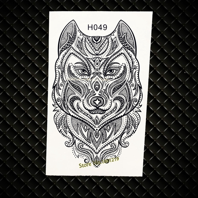 Unique Henna Wolf Designs Fake Flash Tattoo Men Totem Temporary
