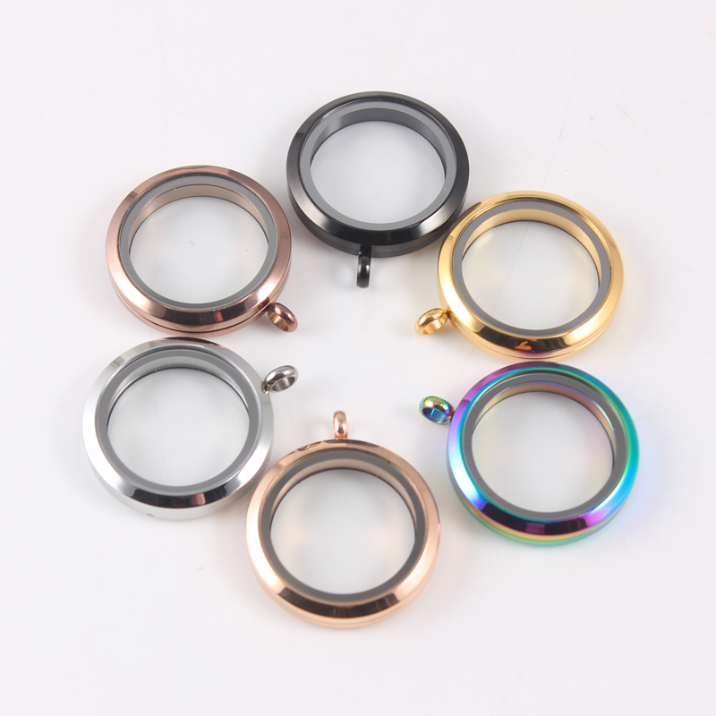Mix Color Round Waterproof Floating Locket Stainless Steel Twist Screw Floating Charms Memory Locket for Women in Pendants from Jewelry Accessories