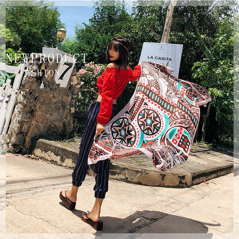 Summer Scarf Female Fashion Wild Cotton And Linen European And American National Wind Tourism Holiday Seaside Shawl Beach Towel