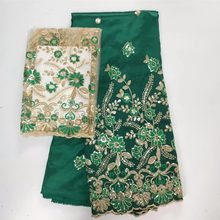 indian george lace nigerian green lace fabrics 2018 high quality african  sequins fabric glitter for party dresses 7yard lotWHQ- 35bf9792969d