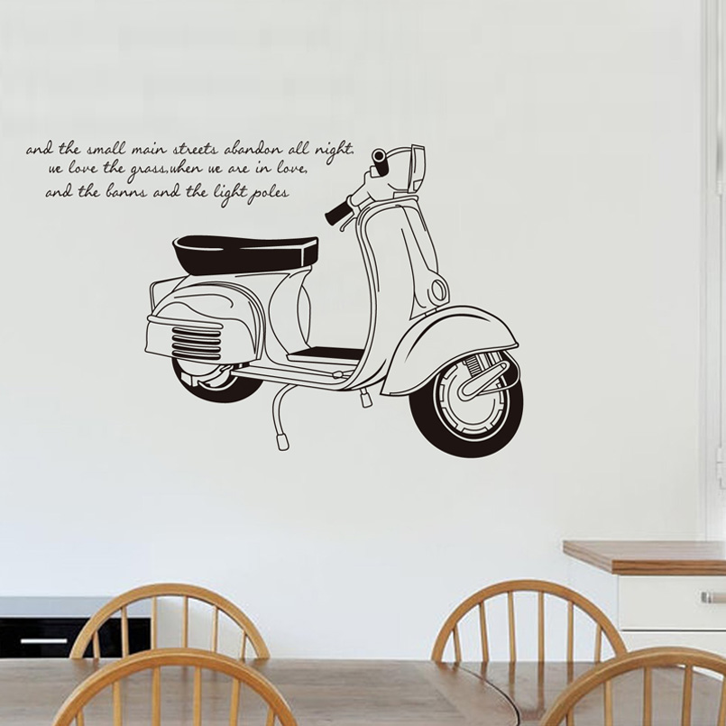 Motorcycle Wall Stickers Part - 23: Creative Motorcycle Wall Stickers Removable PVC Bedroom Living Room Decor  Mural Wall Decal Home Decoration Wallpaper