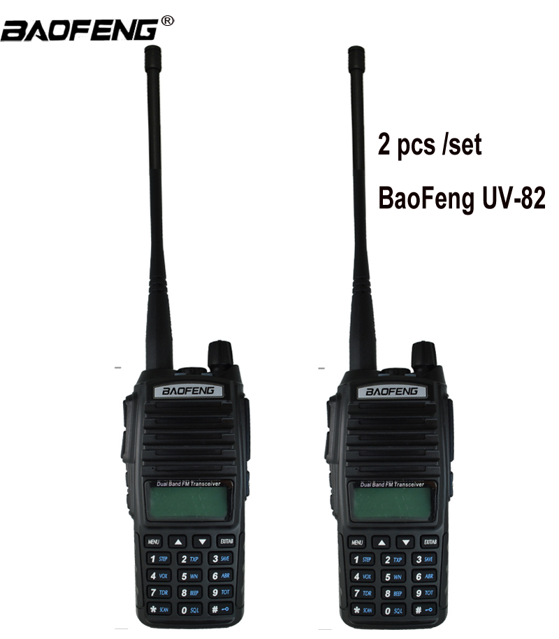 2 pcs Talkie Walkie UV82 Chasse Émetteur-Récepteur Baofeng UV-82 UV 82 Portable Two way Radio Double PTT Ham CB Radio station VHF UHF