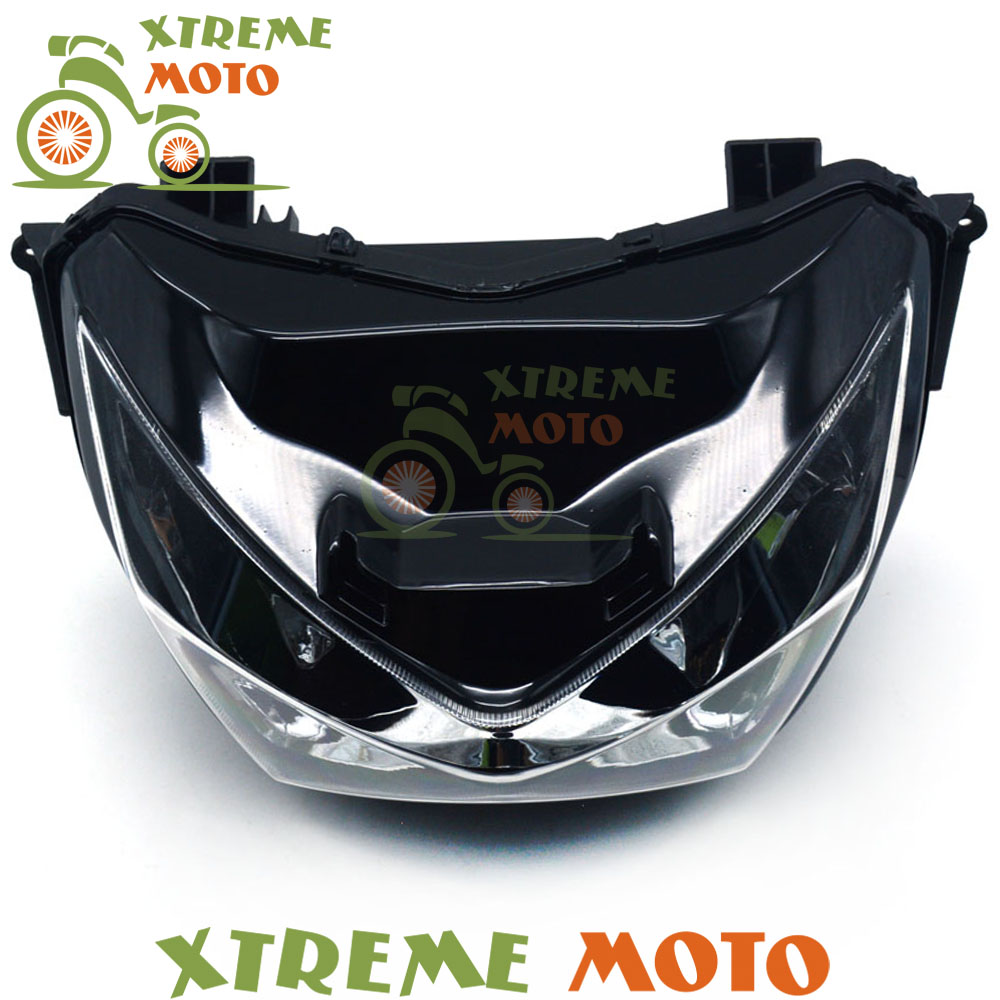 New High Quality Motorcycle Black Front Headlights Headlamps Head Lights Lamps Assembly For Z250 Z800 2013 2014 2015 Supermoto