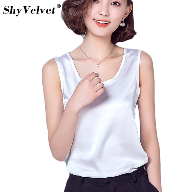 e65927216cd Women Tanks Camisole Casual Shirt Top Silk Singlet Female Vest Plus Size  S-2XL Basic Tank Top Blusas Candy Colors White Black