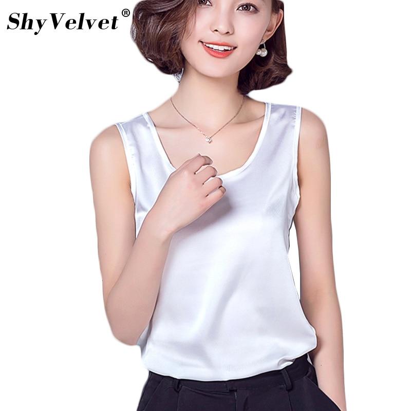 Women   Tanks   Camisole Casual Shirt   Top   Silk Singlet Female Vest Plus Size S-2XL Basic   Tank     Top   Blusas Candy Colors White Black