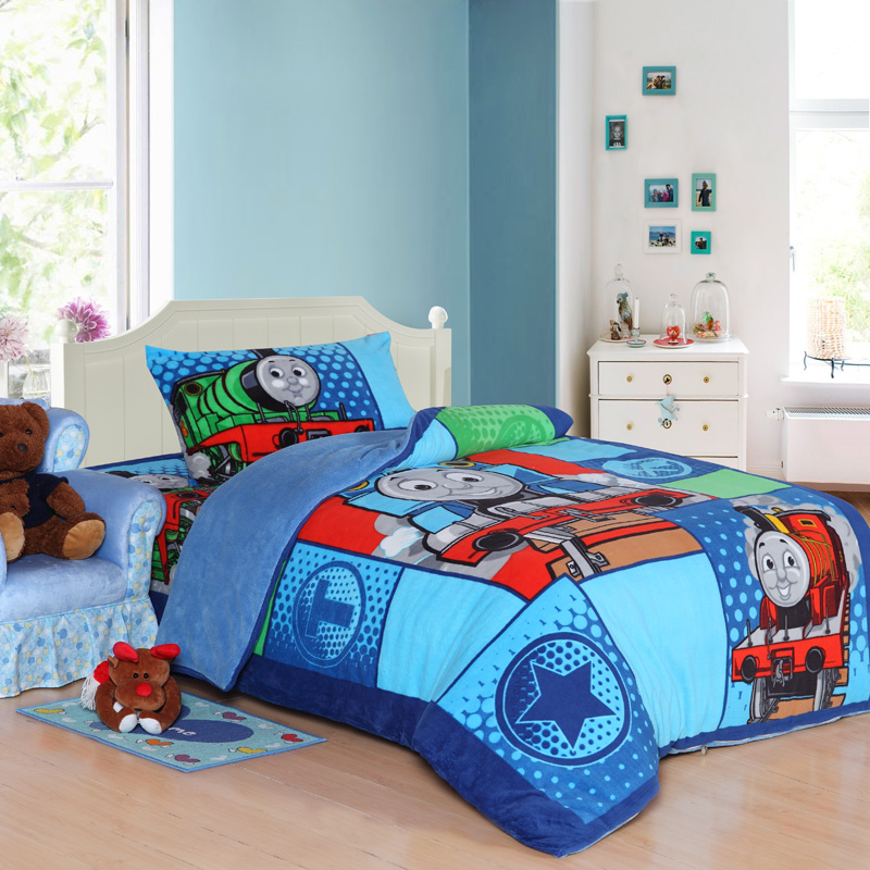 Train thomas kids bedding set queen size cartoon blue children toddler bed sheets quilt duvet for Toddler train bedroom