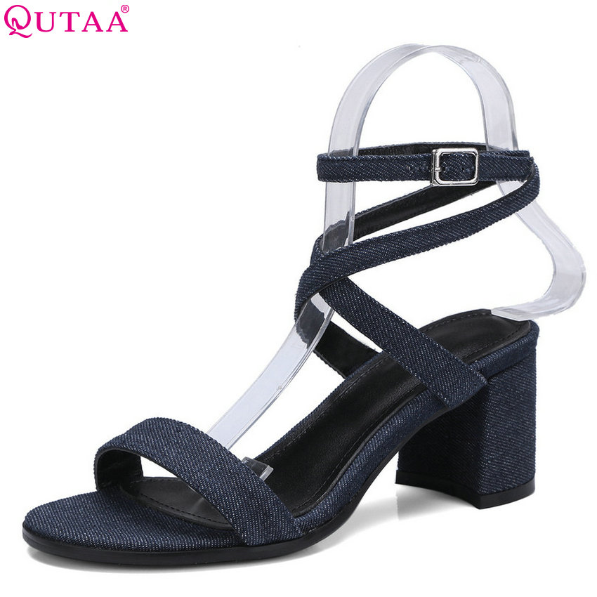 QUTAA 2018 Women Sandals Cow Leather+pu All Match Westrn Style Women Shoes Platform Square High Heel Women Sandals Size 34-43 anmairon shallow leisure striped sandals women flats shoes new big size34 43 pu free shipping fashion hot sale platform sandals