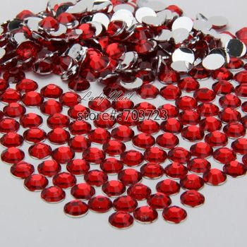 400 pcs 2mm - 6mm Mix Size Red Resin Acrylic Round Rhinestone Flatback Crystal Rhinestones Nail Art Decoration N05 image