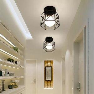 Image 5 - Vintage E27 Plafond Lichten Ijzer Zwart Plafondlamp Retro Kooi Licht Keuken Armaturen Luminaria Lamparas De Techo Home Verlichting