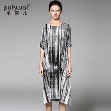 POKWAI Vintage Summer Silk Dress Women Fashion High Quality 2017 New Arrival Half Sleeve O-Neck Stripped Asymmetrical Dresses