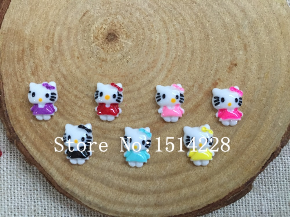 Free Shipping! Mixed Colors .Resin Mini Kitty. Resin Flatback Cabochon For Nail Art/earring Accessory,DIY .(small Size 7*10mm)