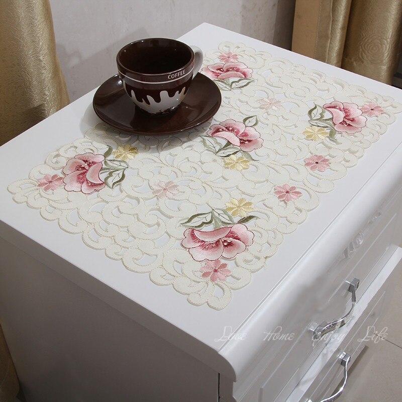 Vezon элегантный цветочный полный вышивка Настольная дорожка Свадебные украшения флаг бегунов Cutwork Вышитые Обеденная ткань столовых
