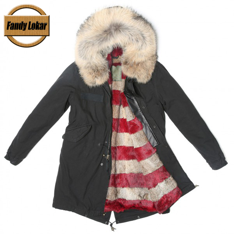 New Long Warm Real Fox Fur Collar Coat Women Winter Real Rabbit Fur Liner Hooded Jacket Women Bomber Parka Female Ladies FP9123 red shell warm raccoon fur collar coat women winter real fox fur liner hooded jacket women long parka female ladies fp891