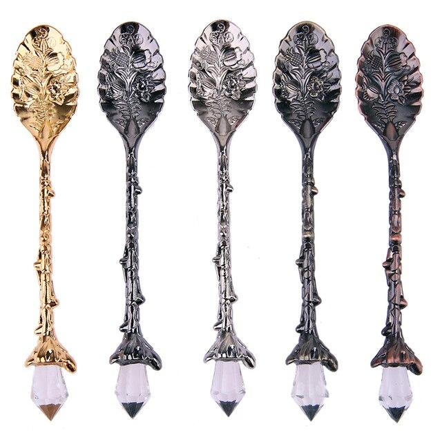5 Stücke Küche Werkzeuge Luxus Kristall Kopf Retro Legierung Löffel ...
