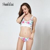 Printed Swimwear Women Braided Bikinis Set Vest Style Swimsuits Push Up Biquini Low Waist Bathing Suit