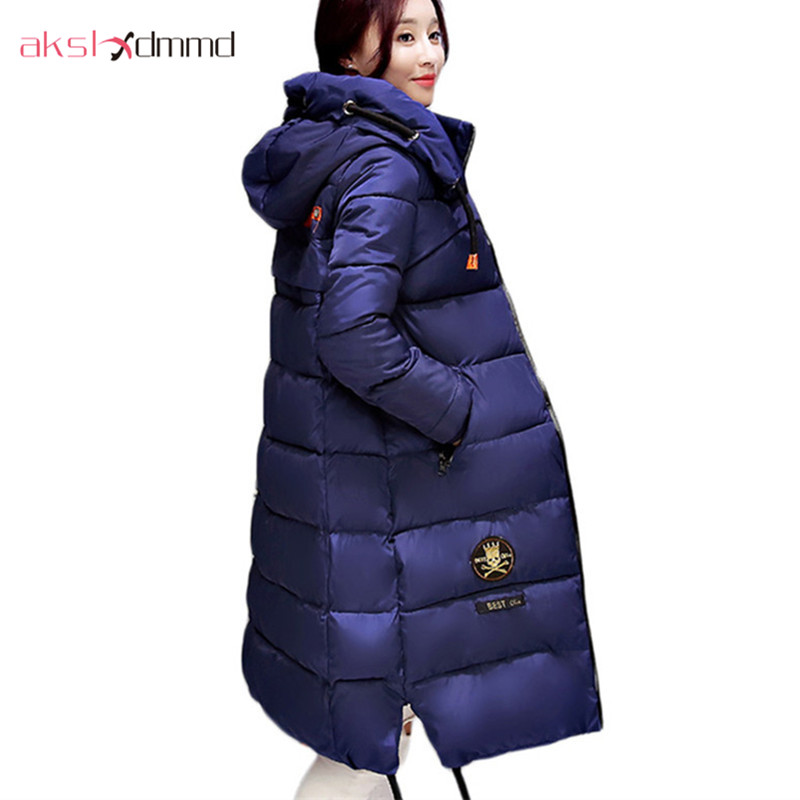 AKSLXDMMD Large size Winter Coat Women 2017 New Mujer Padded Jackets and Coats Slim Thick Cotton Long Jacket Coat Parkas LH263 akslxdmmd parkas mujer plus size winter coats 2017 new thick padded cotton printed letters hooded winter women jacket lh1114