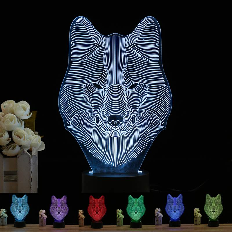 USB 3D LED Night Light Lamp 7 Colors Change Acrylic Wolf Head Button Control Desk Table