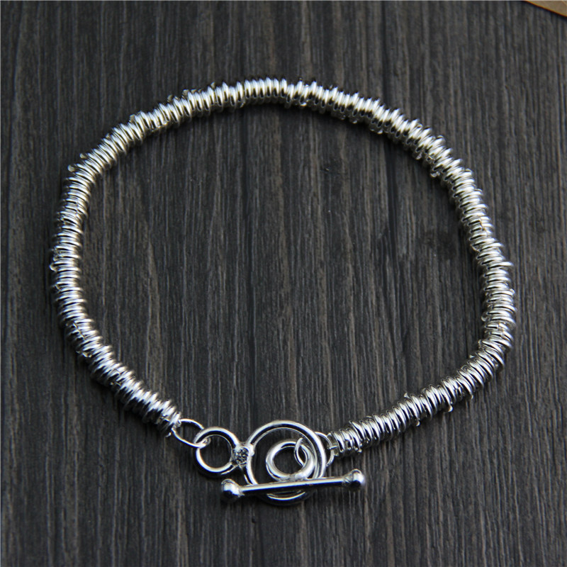 Real Pure 925 Sterling Silver Handmade Bracelet For Women Vintage Punk Original Design Personalized Bracelet