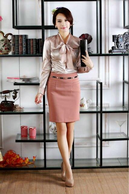 New outono inverno manga comprida ternos de carreira ( blusa e saia ) Suits saia para o Office Ladies queda Formal Suit Plus Size 2XL