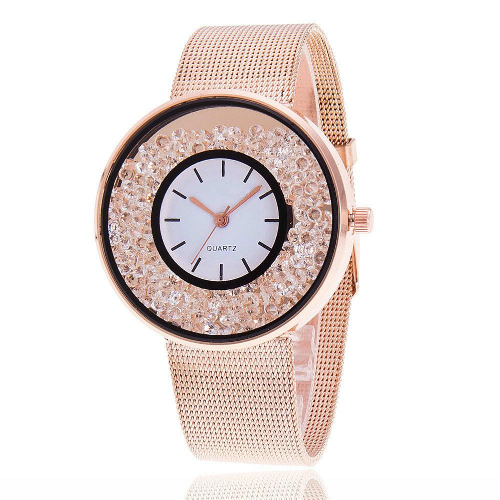 Runer Fashion Rose Gold & Silver Stainless Steel brand Luxury quartz Women Rhinestone Watches Watches clock Relojes hombre 2017