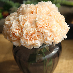 Image 4 - ผ้าไหมสีชมพูไฮเดรนเยียประดิษฐ์ดอกไม้งานแต่งงานดอกไม้สำหรับเจ้าสาวผ้าไหม Blooming Peony ปลอมดอกไม้สีขาวตกแต่ง