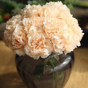 Image 4 - Rosa seide hortensien künstliche blumen hochzeit blumen für braut hand seide blühende pfingstrose gefälschte blumen weiß hause dekoration