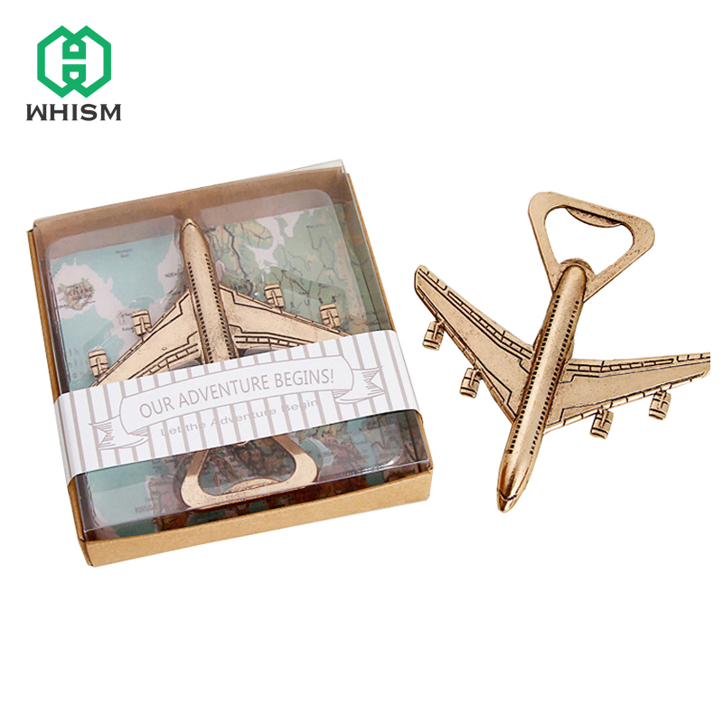 WHISM Airplane Bottle Opener Antique Plane Shape Beer Opener Wedding Gift Party Favors Kitchen Aluminum Alloy Airplane Openers image