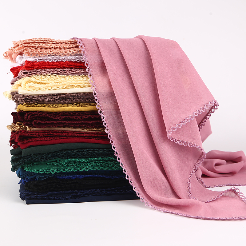 21 COLORS Plain Bubble Chiffon Lace Edges Scarf Women Muslim Hijab Wrap Shawls Headband Scarves Wholesale 180*75cm