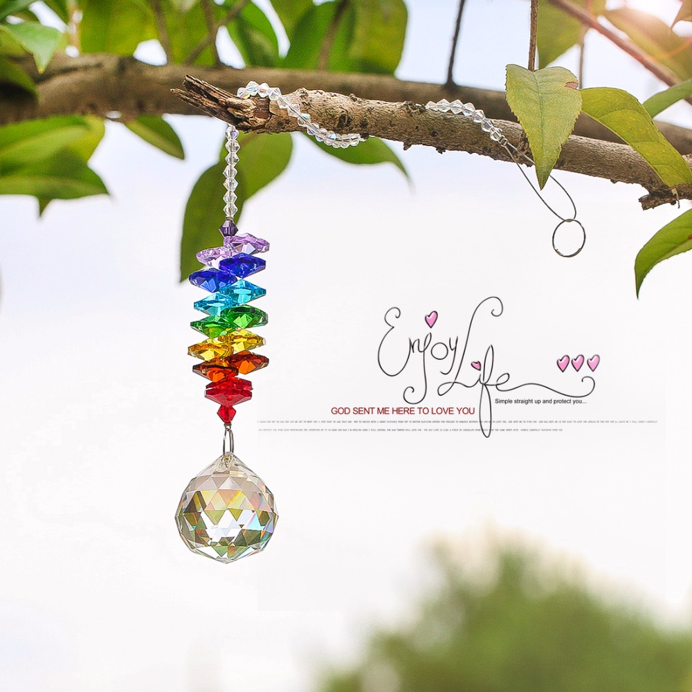 H&D Chakra Crystal Sun Catchers Chandelier Crystals Ball Prism Pendant Rainbow Maker Hanging Chakra Cascade Suncatcher 24cm