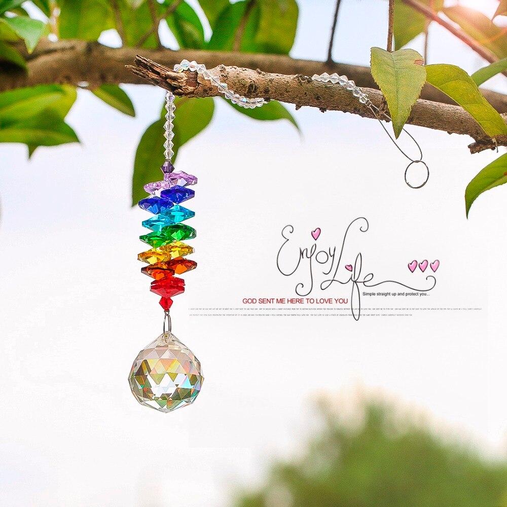 H & D Chakra Kristall Sonne Fänger Kronleuchter Kristalle Ball Prism Anhänger Regenbogen Maker Hängen Chakra Cascade Suncatcher 24 cm