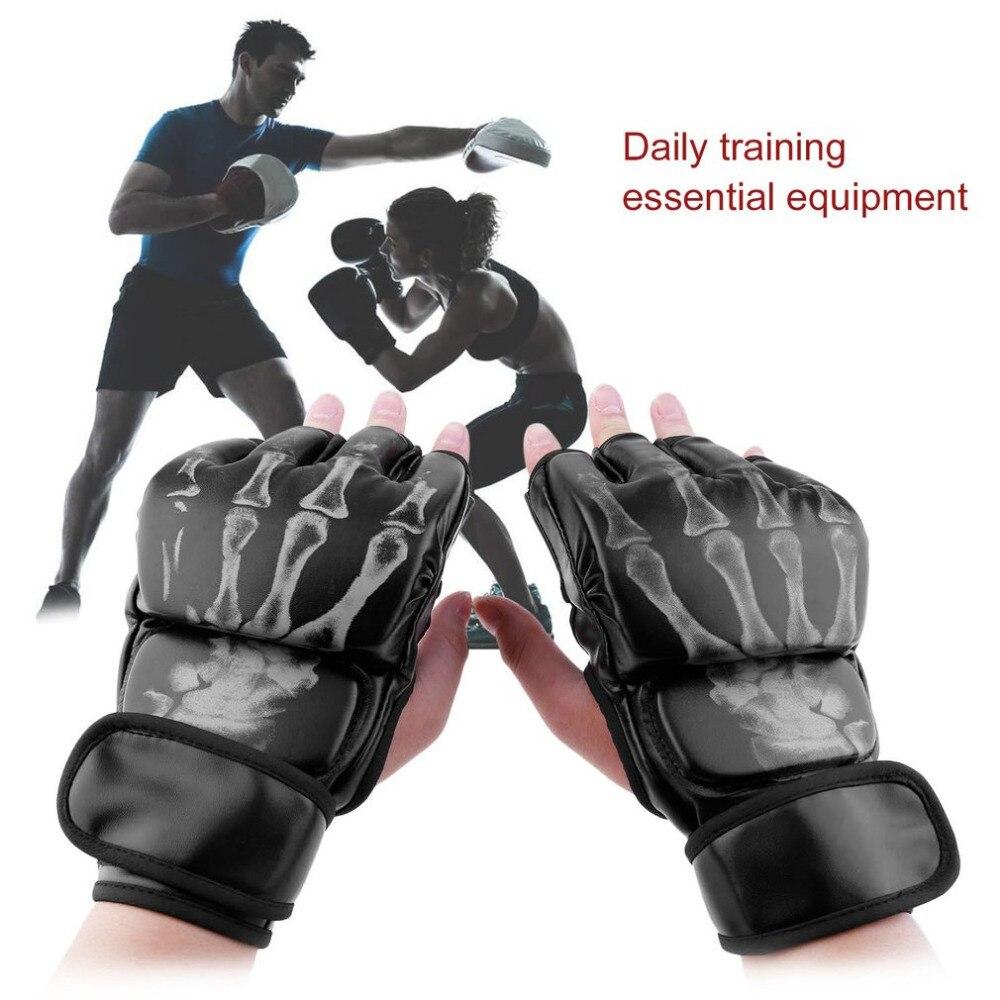MMA lucha boxeo medio dedo guantes de MMA Sparring lucha sacos de arena profesional Wrestling lucha puño formación Protector