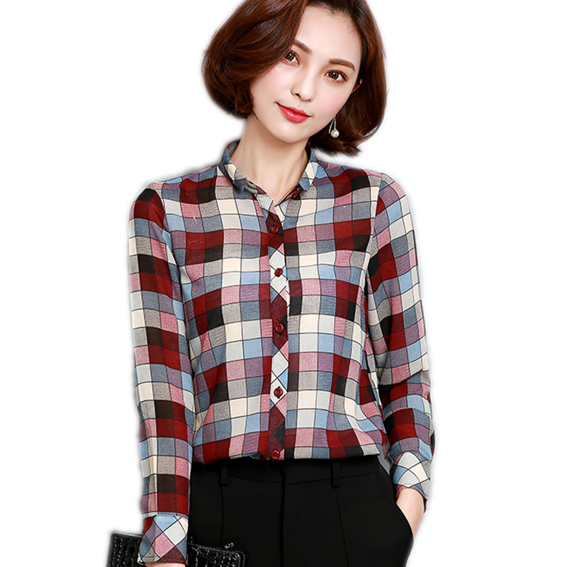 Women Blouses 2017 Fashion Women Tops Brand Plus Size Long Sleeve Winter Blouse Formal Plaid Office Shirts Blouse For Work Wear