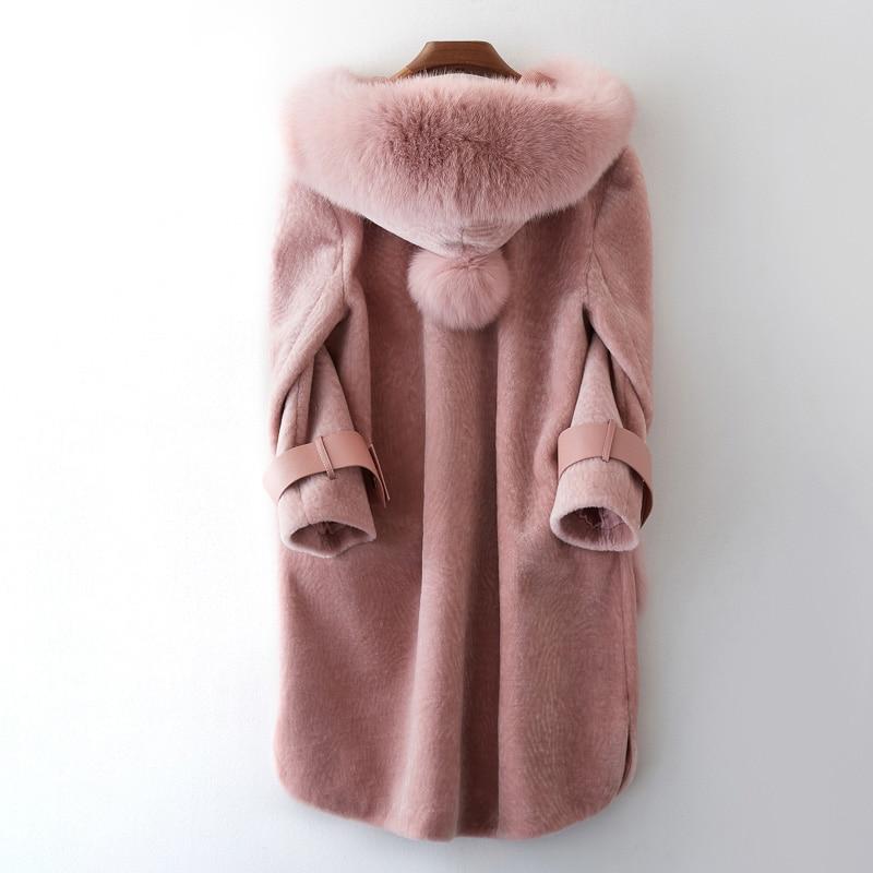 Moutons De Mouton Peau Véritable Renard Vêtements Manteau Fourrure Capuchon beige Automne Pink Tops Veste À Hiver Coréennes 2018 black Femmes Laine En Zt1044 OAwq4