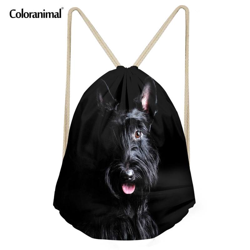 Coloranimal Cute 3D Animal Dog Puppies Scottish Terrier Print Fitness Drawstring Bag Travel Softback Backpack Sack Storage Bag