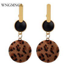 WNGMNGL 2018 Women Sexy Leopard print Drop Earrings Vintage Acrylic Round Dangle for women Charm fashion jewelry Gift
