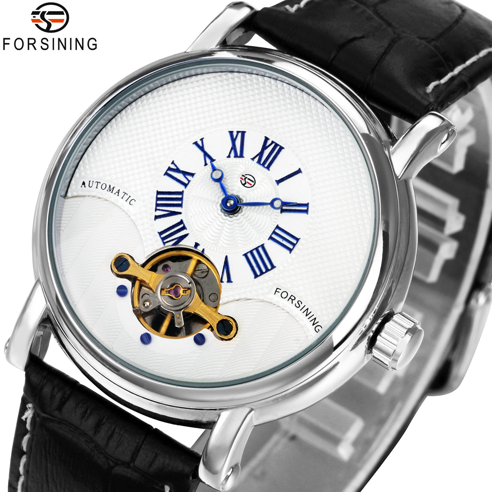 FORSINING Fashion Retro Men Automatic Mechanical Watches Roman Number Dial Tourbillon Design Leather Band Top Brand Luxury ClockFORSINING Fashion Retro Men Automatic Mechanical Watches Roman Number Dial Tourbillon Design Leather Band Top Brand Luxury Clock