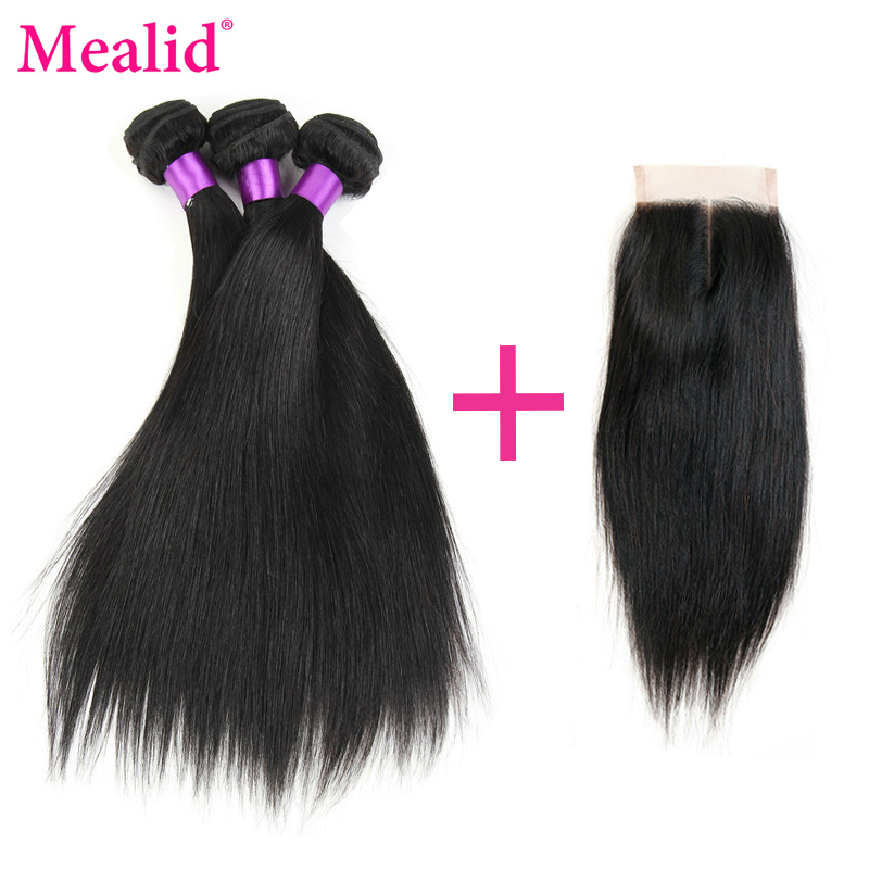 Mealid Straight Hair Bundles With Closure Brazilian Hair Weave Bundles With Closure Non-Remy Natural Color Human Hair Weave
