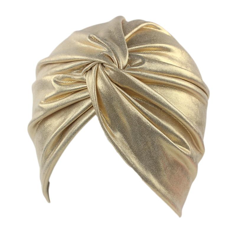 Legújabb luxus bronz csavar Turban női divat Fémes fejbevonat sapka