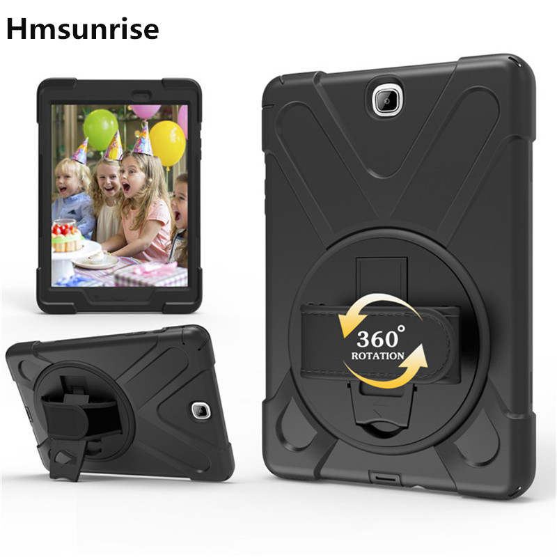 Hmsunrise Case For Samsung Tab A 9.7 T550 T555 Kids Safe Shockproof Heavy Duty Silicone Hard Cover Wrist Strap for SM-T550 hmsunrise case for apple ipad air 1 kids safe shockproof heavy duty silicone hard cover for ipad 5 case with wrist strap