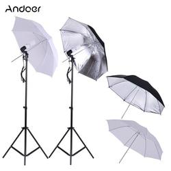 Andoer Photo Studio Umbrella Lighting Kit w/ 2m Light Stands + 45W 5500K Photo Lamp Bulb +83cm Soft Umbrella + Swivel Socket etc