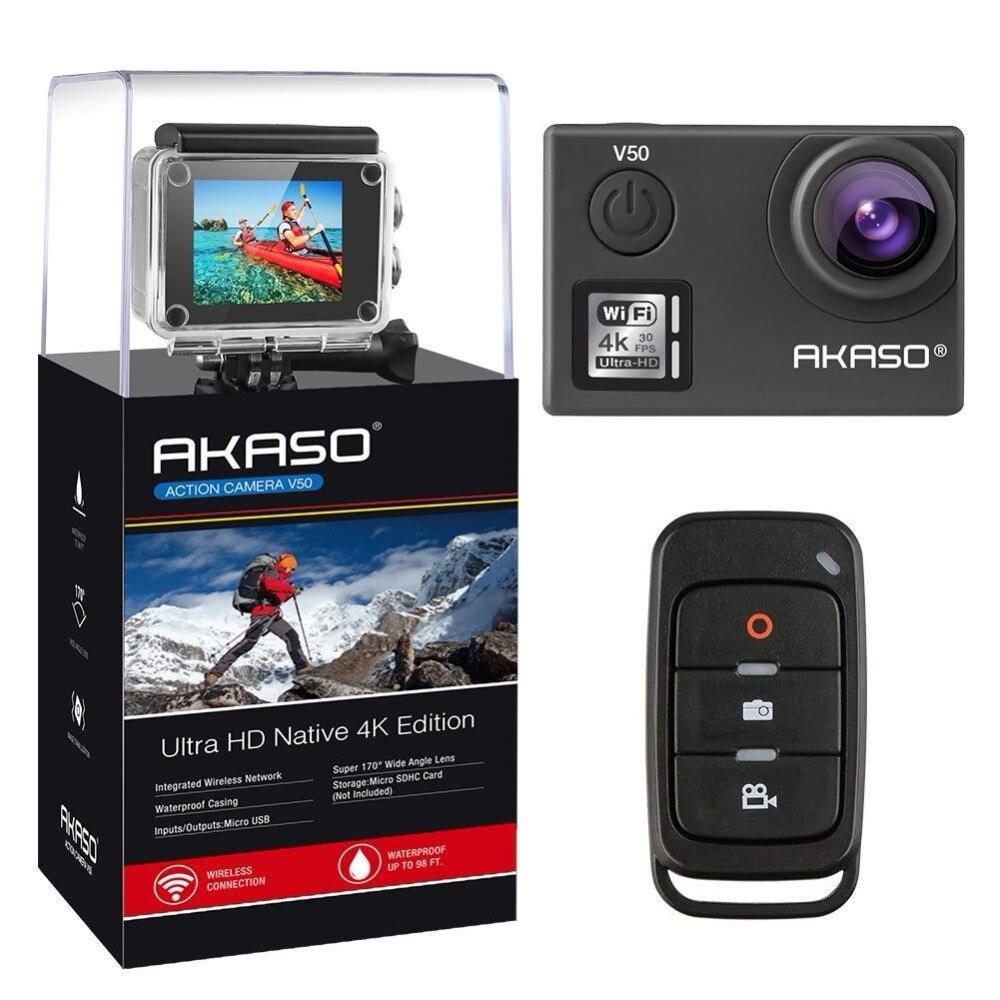 AKASO V50 4 k 30FPS WIFI Extérieure Sport Action Extrême casque Caméra Avec Els Ultra HD Étanche DV Caméscope 20MP 170 Degrés
