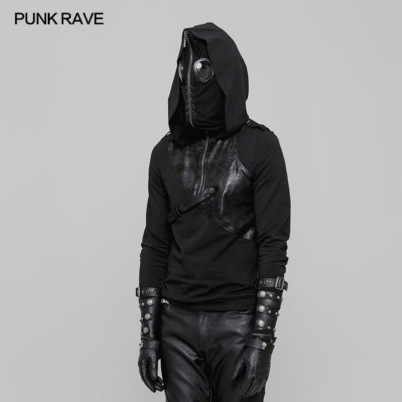 2018 новый дизайн панк Рейв Пуловер черный мужской повседневный худи куртка толстовки WT512 - 3