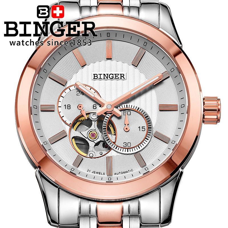 32b4fcd4809 ᐂRelógio dos homens de luxo da marca suíça BINGER 18 K ouro ...